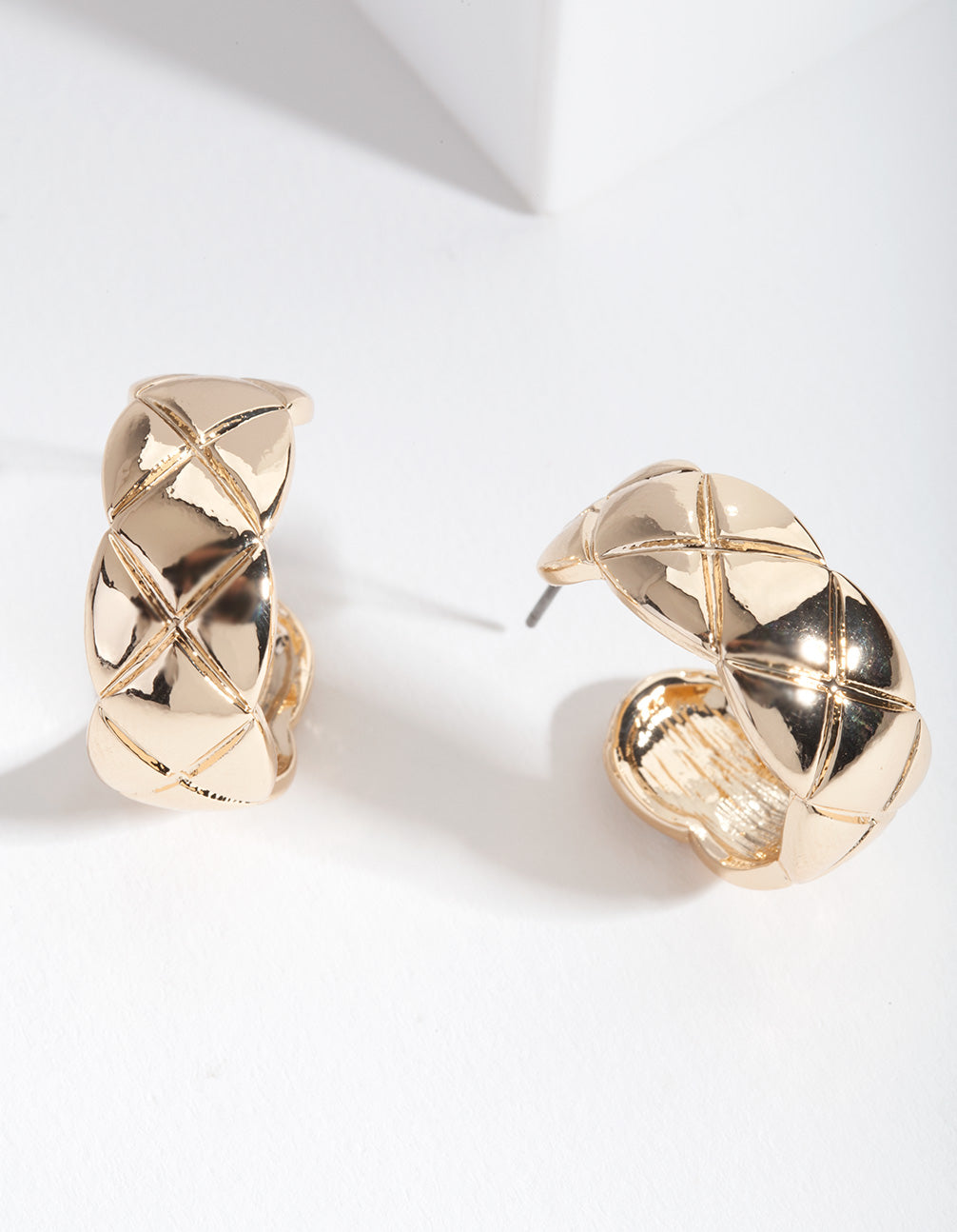 Gold Chubby Quilted Hoop Earrings