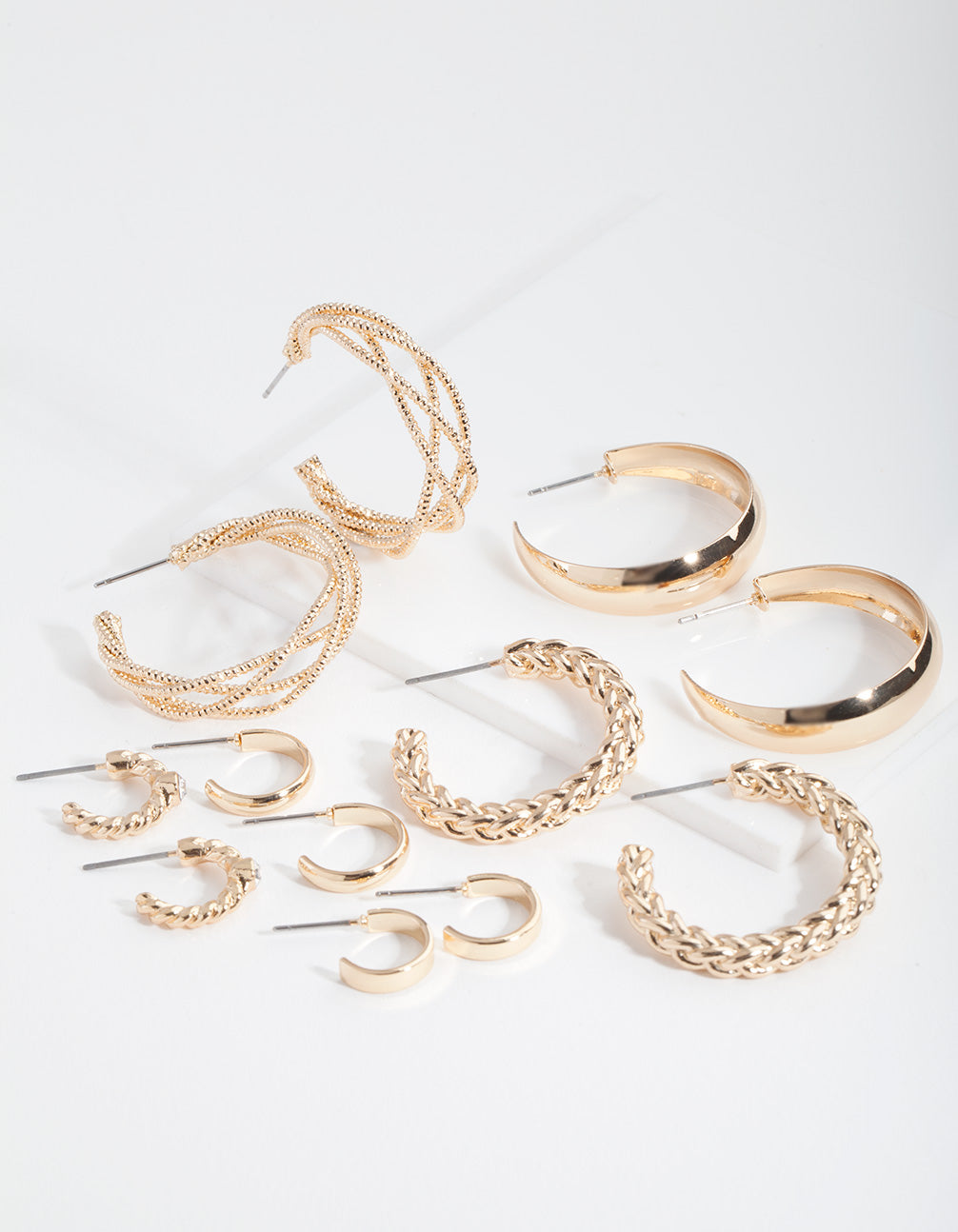 Gold Multi Twist Hoop Earring 6 Pack