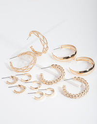 Gold Multi Twist Hoop Earring 6 Pack - link has visual effect only