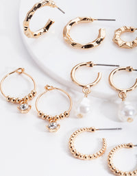 Gold Mini Pearl Hoop Earring 6 Pack - link has visual effect only