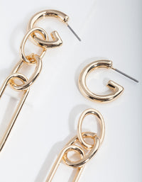Gold Multi Link Drop Earrings - link has visual effect only