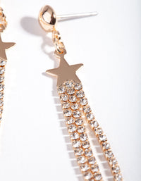 Gold Mini Star Diamante Tassel Earring - link has visual effect only