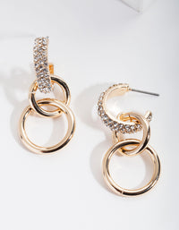 Gold Diamante Triple Chain Link Earring - link has visual effect only