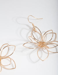 Gold Cutout Flower Drop Earrings - link has visual effect only