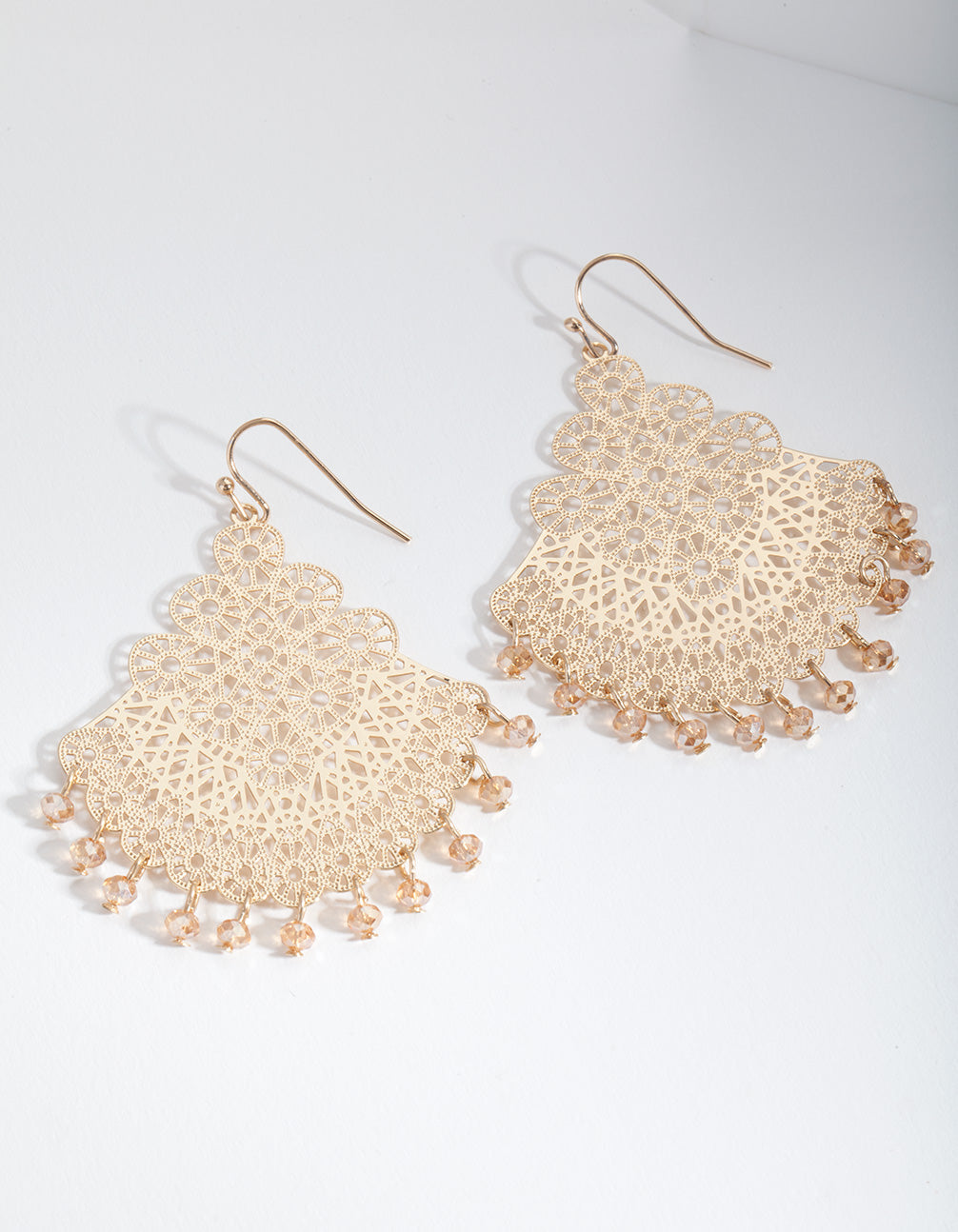 Gold Filigree Chandelier Fan Drop Earrings