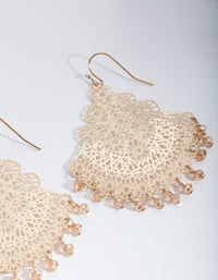 Gold Filigree Chandelier Fan Drop Earrings - link has visual effect only