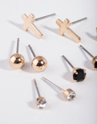 Gold Cross & Ball Stud Earring Pack - link has visual effect only