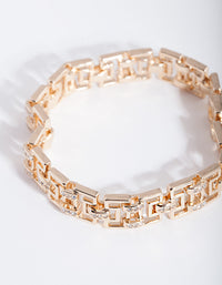 Gold Diamante Maze Clasp Bracelet - link has visual effect only