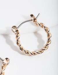 Gold Twist Hoop Earring and Bracelet Pack - link has visual effect only