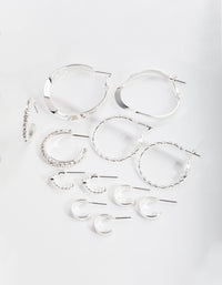 Silver Multi Choice Hoop Earring 6 Pack - link has visual effect only