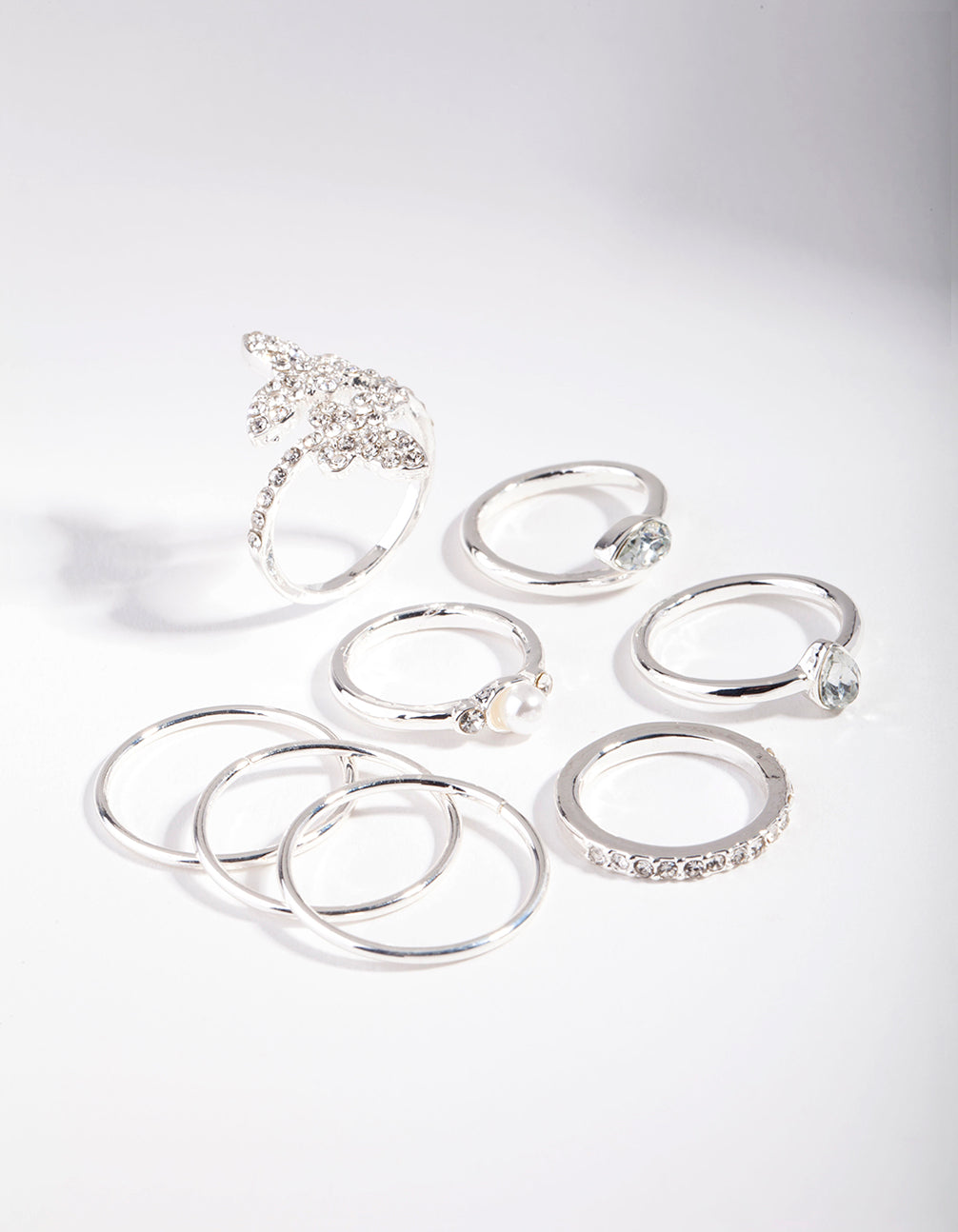 Silver Butterfly Diamante Ring Set