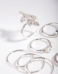 Silver Butterfly Diamante Ring Set - link has visual effect only