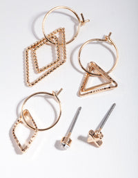 Gold Shapes Geometric Ear Stack - link has visual effect only