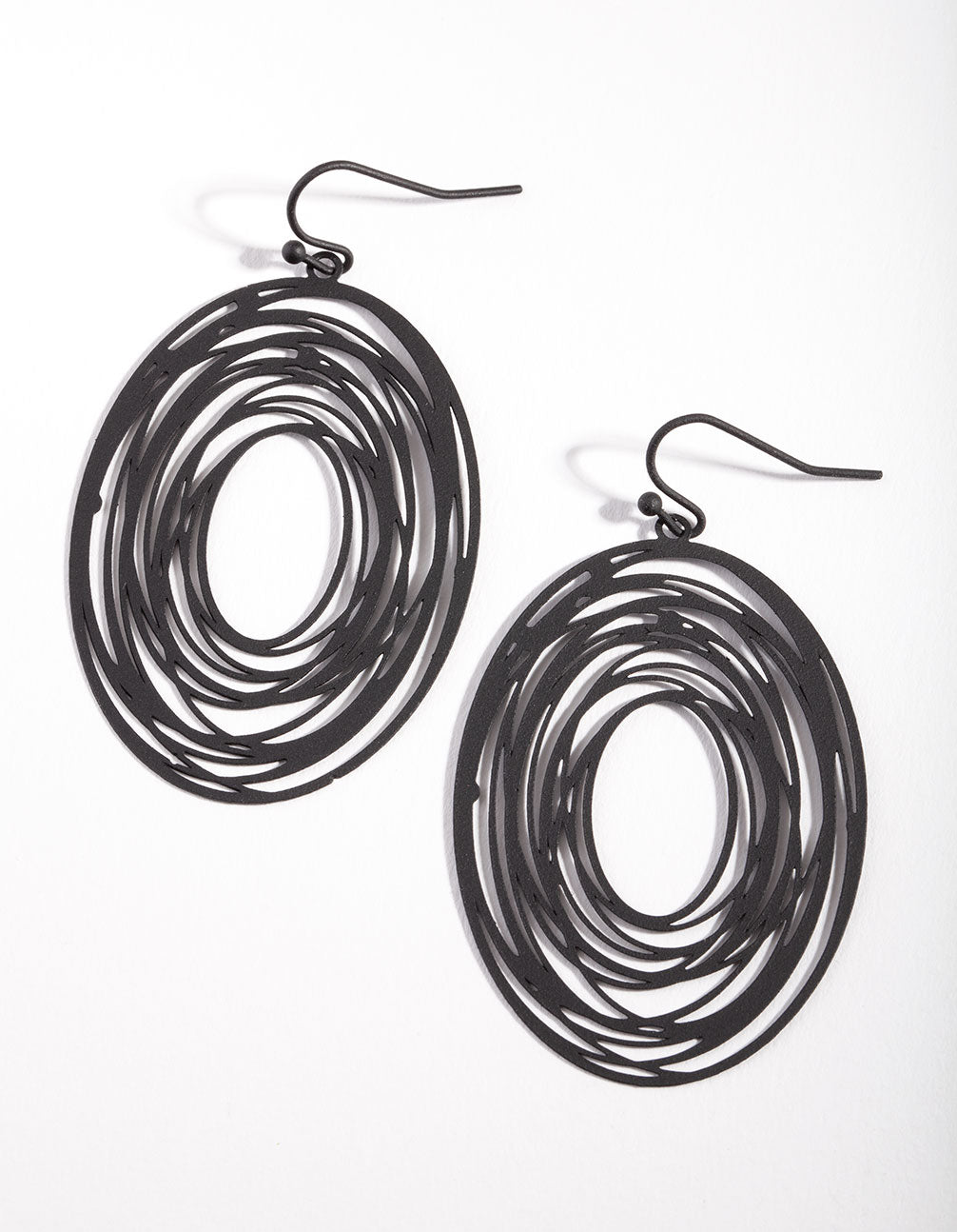 Black Swirl Wrap Oval Earrings