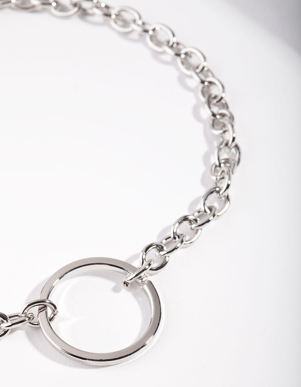 Rhodium Open Circle Choker Necklace