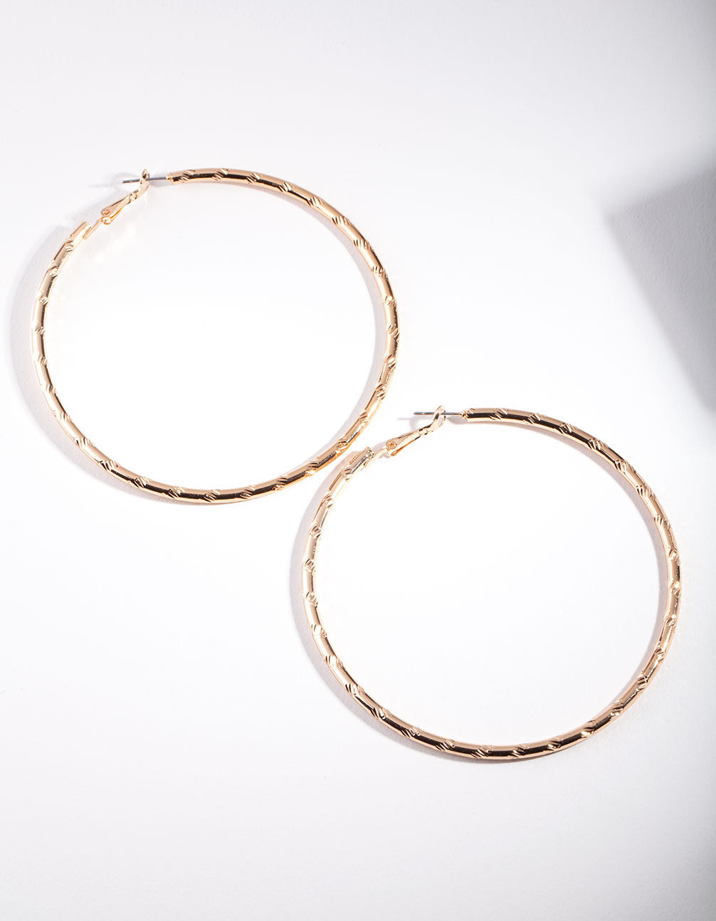 Gold Textured Shiny Hoop Earring