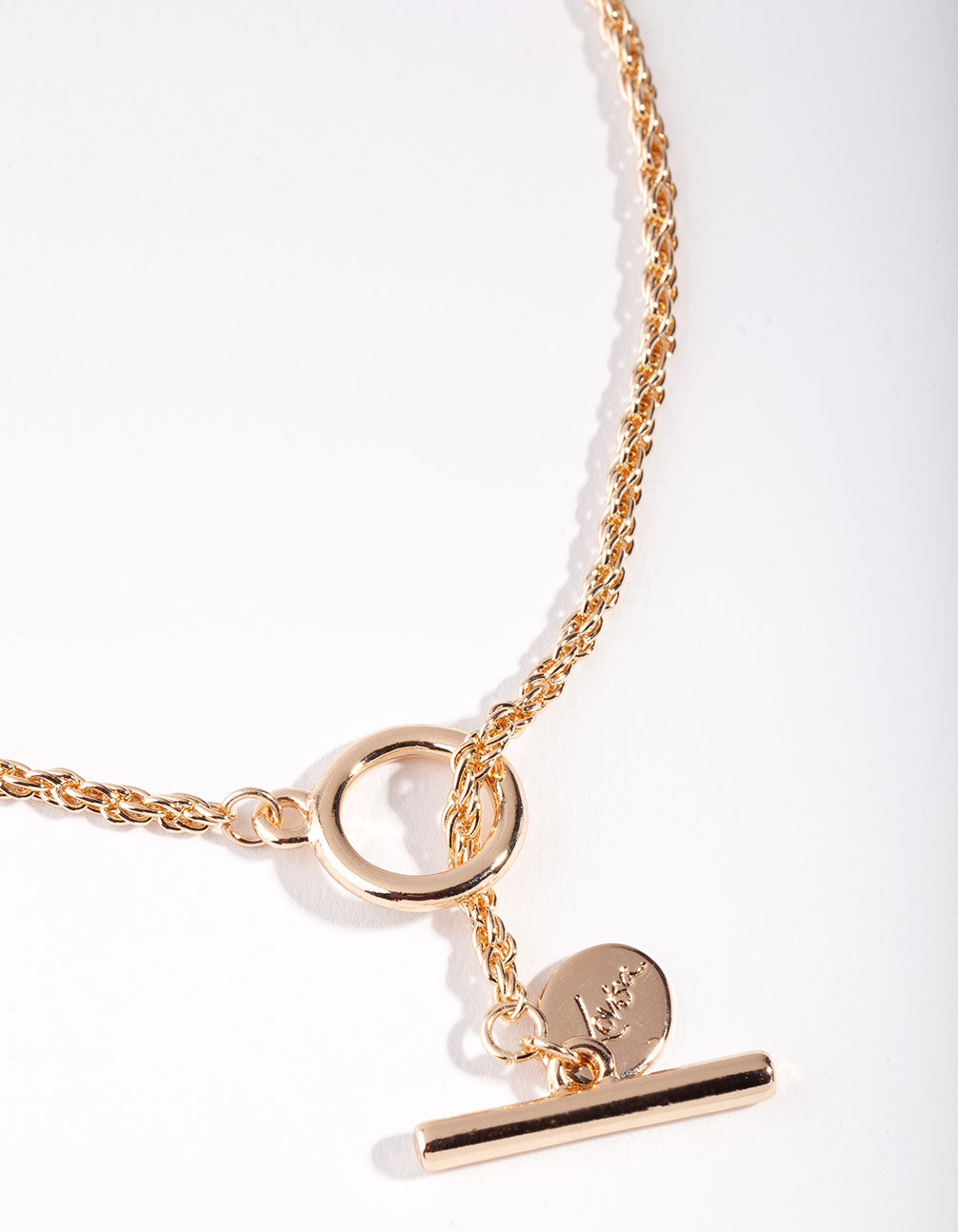 Gold Round Chain T-Bar Necklace