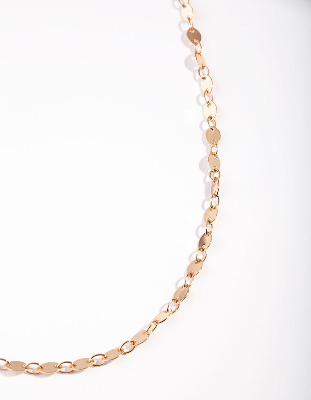 Gold Flat Disc Chain Necklace