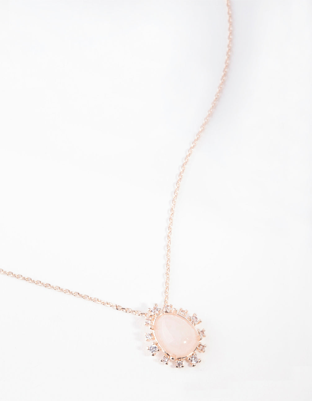 Real Rose Gold Plated Stone Semi-Precious Pendant Necklace