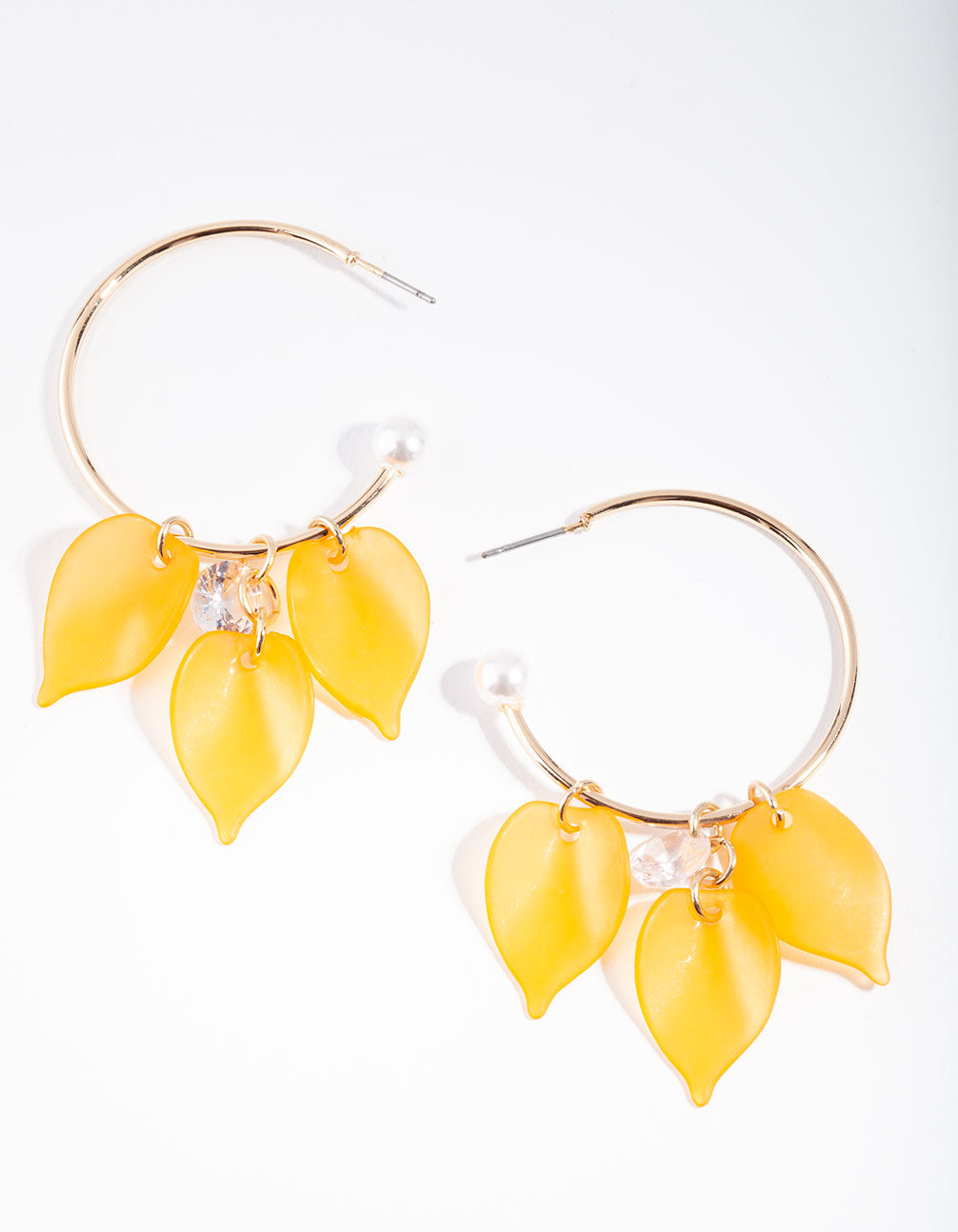 Gold Orange Pearl Back Hoop Earring