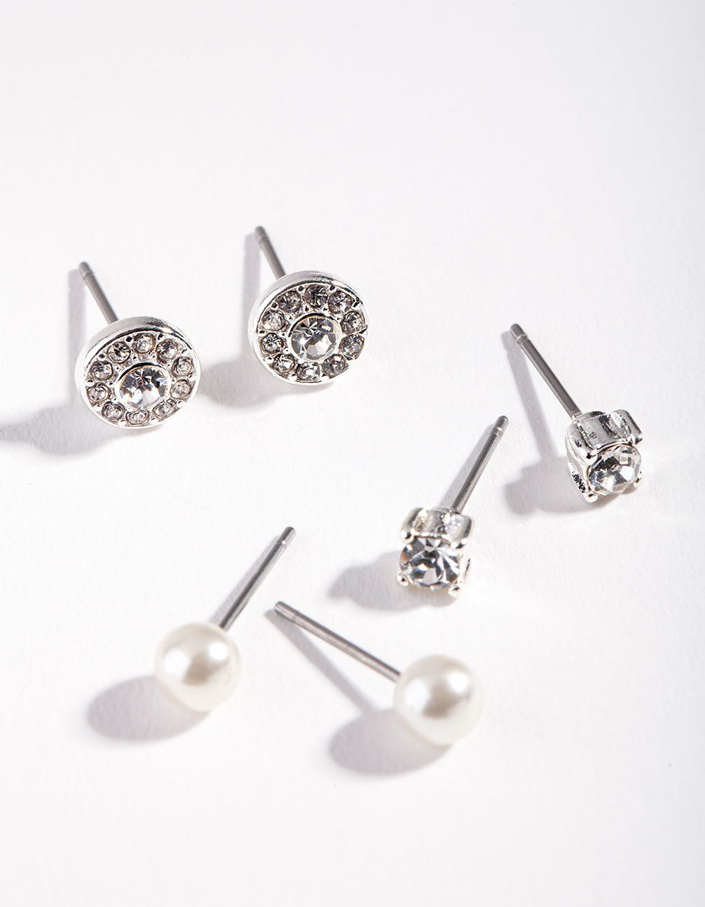 Silver Pearl Mixed Diamante Earring 3 Pack