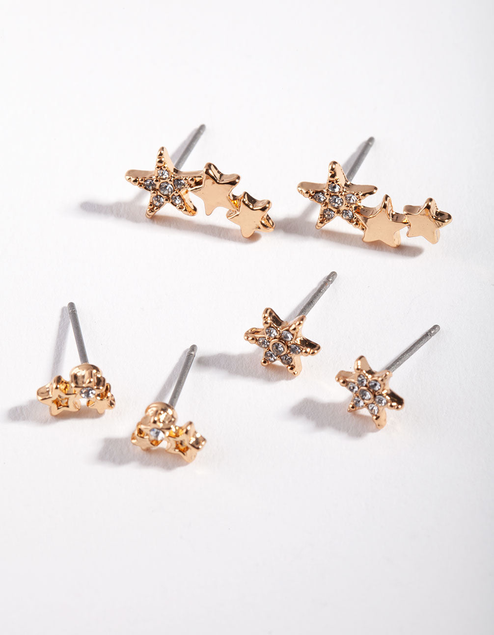 Gold Star Cluster Mix Stud Earring 3 Pack