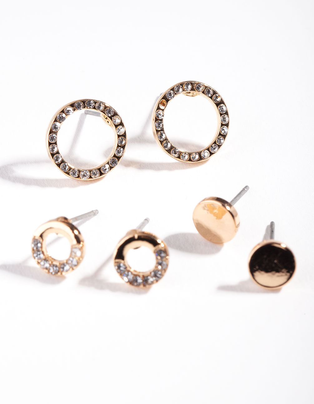 Gold Pave Circle Mix Stud Earring 3 Pack