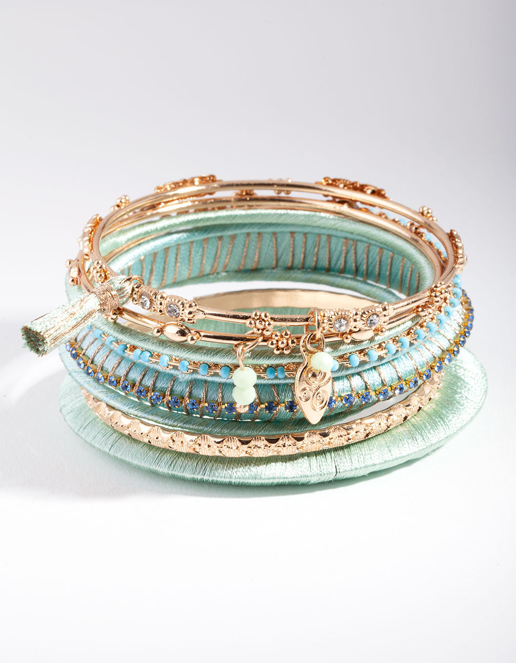 Rose Gold Aqua Wrap Bracelet 9 Pack