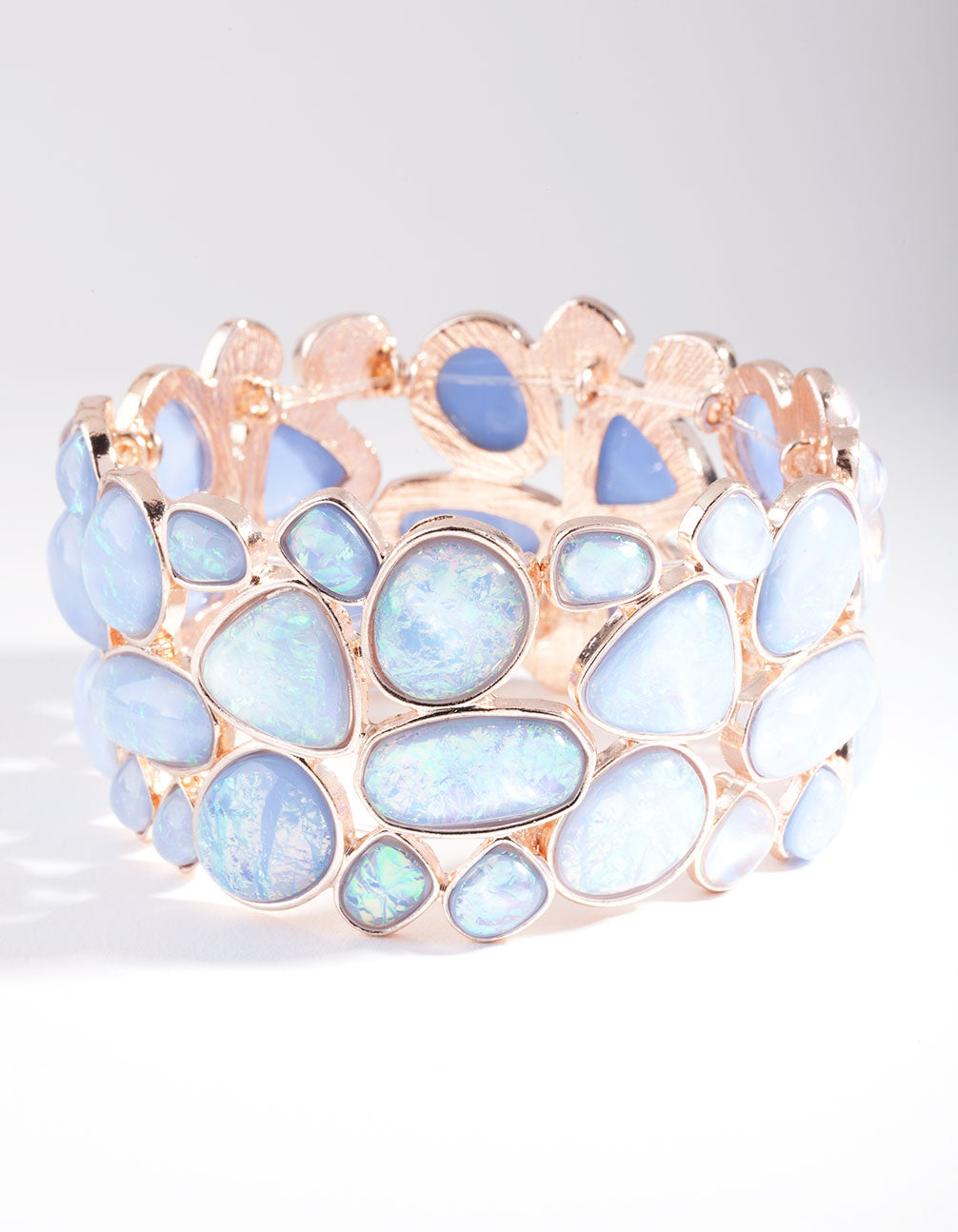 Rose Gold Blue Stone Stretch Bracelet