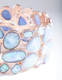 Rose Gold Blue Stone Stretch Bracelet - link has visual effect only