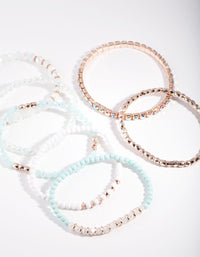 Rose Gold Blue Facet Bead bracelet 6 Pack - link has visual effect only