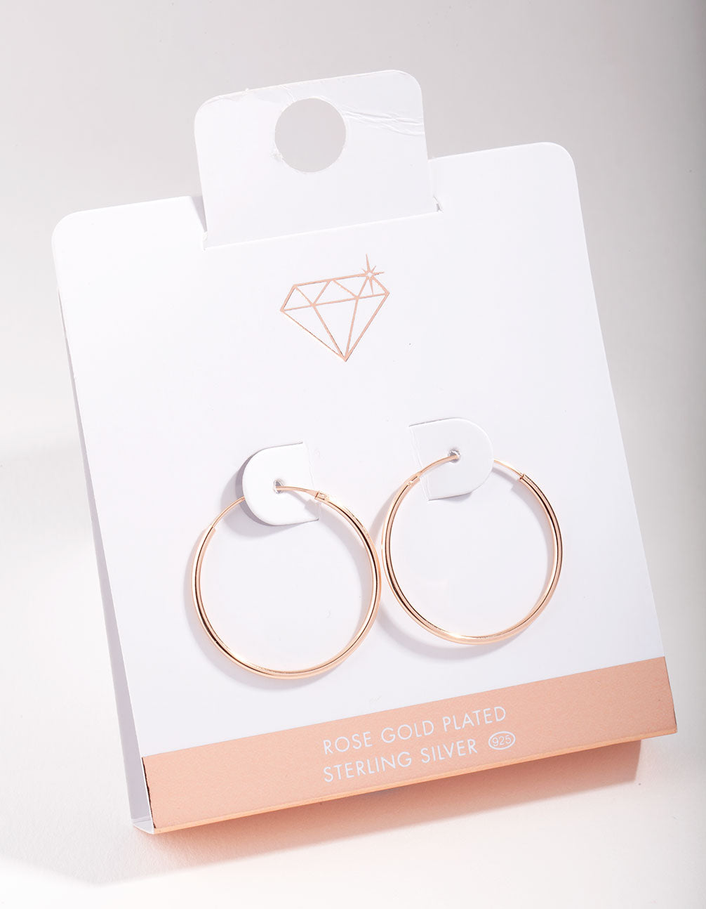 Rose Gold Plated Sterling Silver 25mm Hoop Earrings