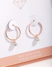 Rose Gold Plated Sterling Silver 16mm Fireball Hoop Earrings - link has visual effect only