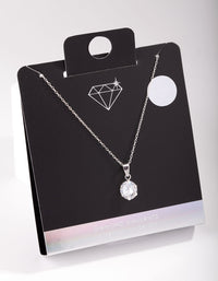 8mm Round Diamond Simulant Pendant Necklace - link has visual effect only