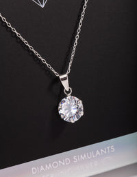 7mm Round Diamond Simulant Pendant Necklace - link has visual effect only