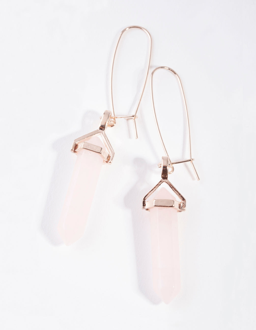 Rose Gold Open Wire Rose Quartz Stone Hoop Earring