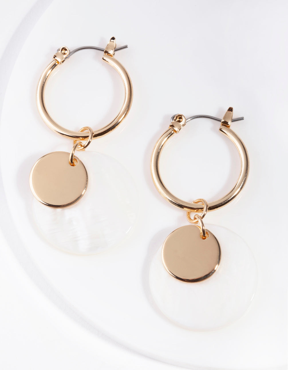 Gold Shell Disc Hoop Earrings
