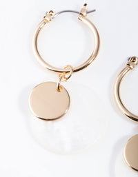 Gold Shell Disc Hoop Earrings - link has visual effect only