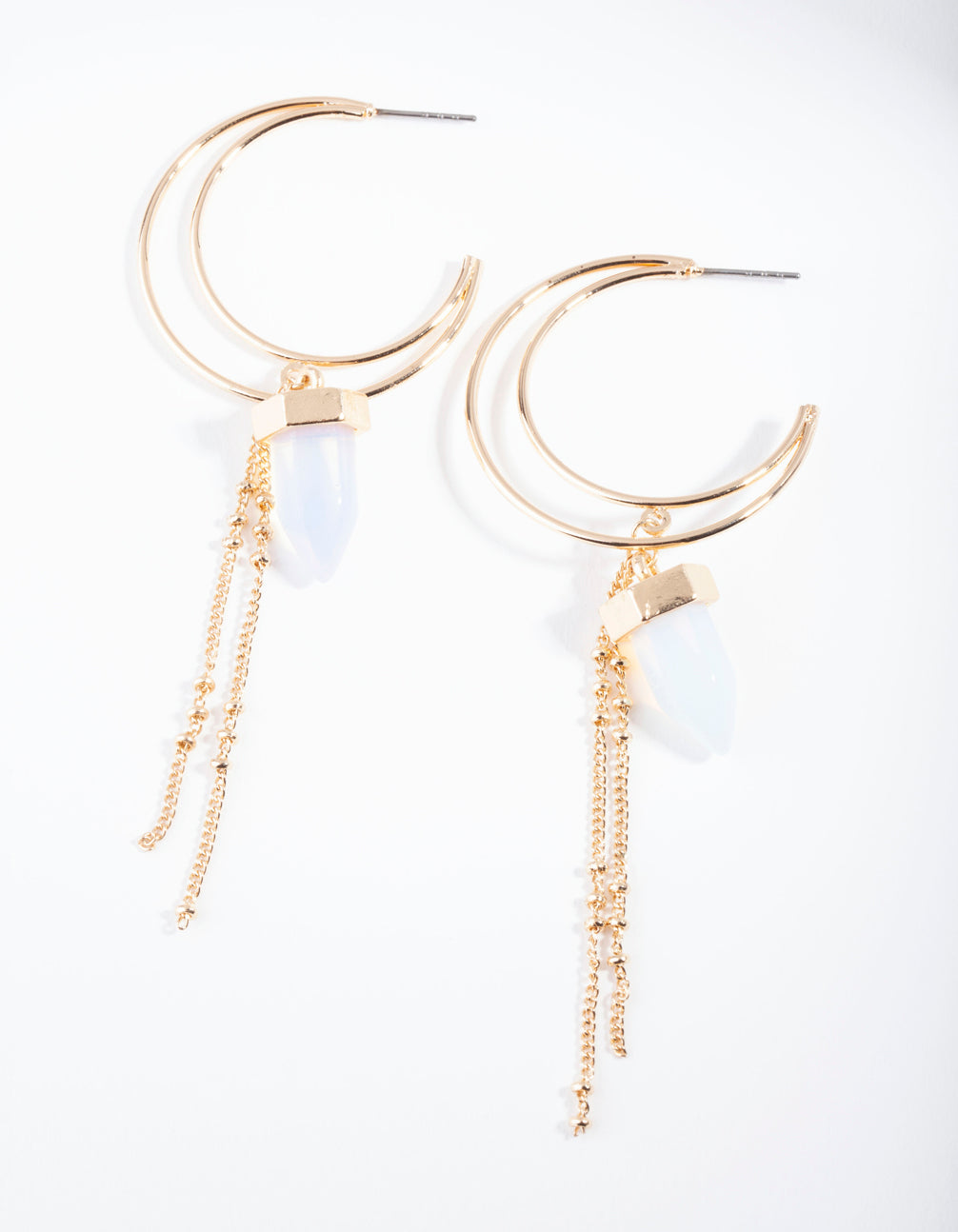 Gold Tassel Hoop Moonstone Drop Earring