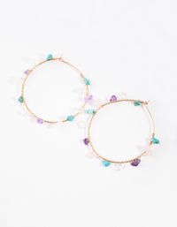 Rose Gold Turquoise, Rose Quartz, Amethyst Hoop Earring - link has visual effect only