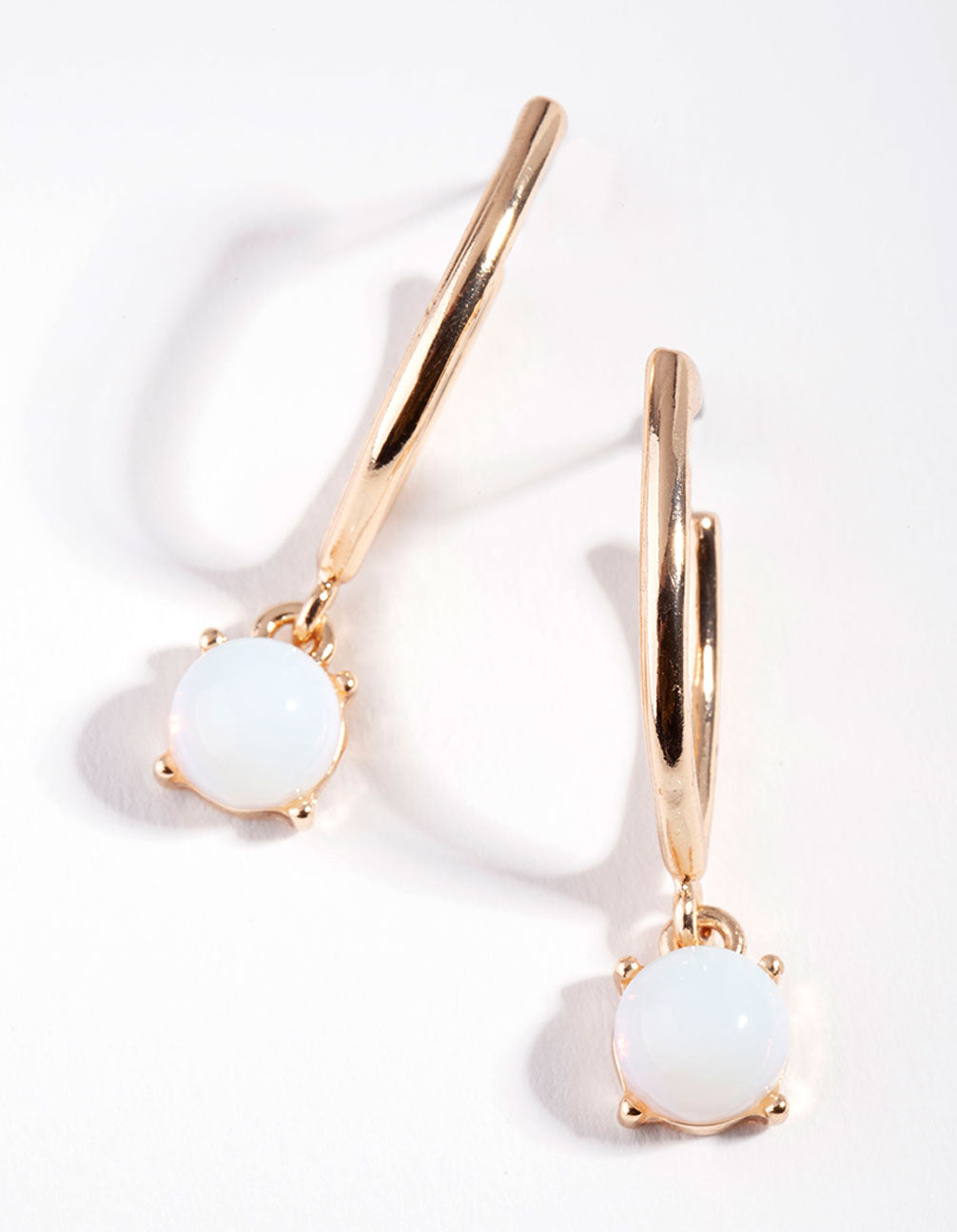 Gold Reflective Moonstone Hoop Drop Earring
