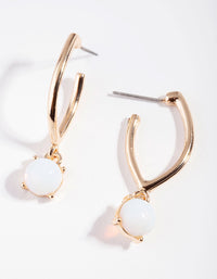 Gold Reflective Moonstone Hoop Drop Earring - link has visual effect only