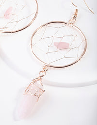 Rose Gold Dreamcatcher Rose Quartz Earring - link has visual effect only