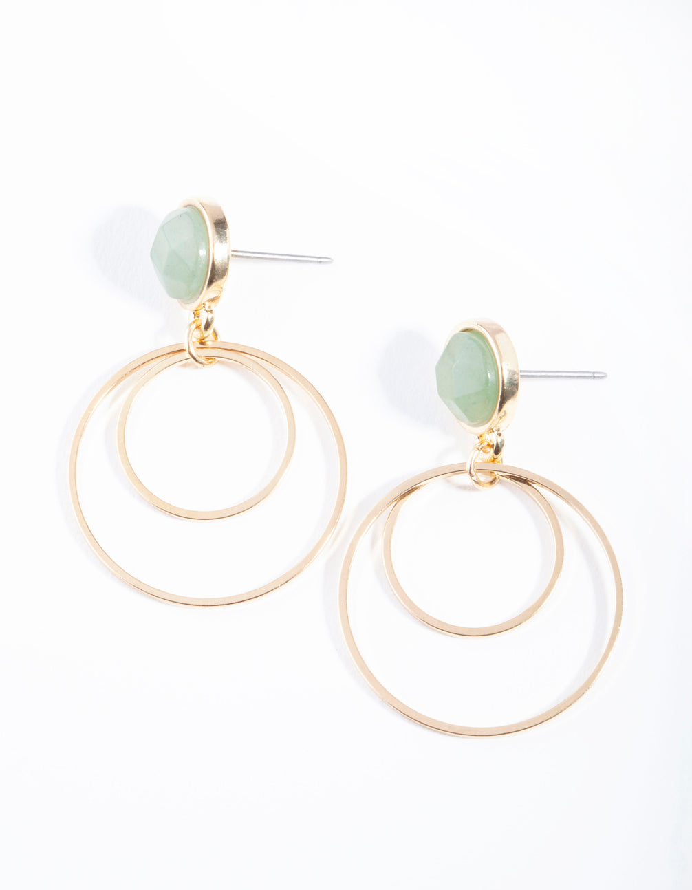 Gold Jade Stone Stud Double Drop Earring