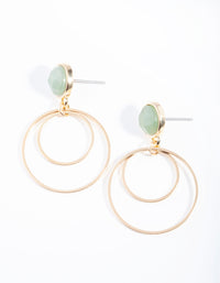 Gold Jade Stone Stud Double Drop Earring - link has visual effect only