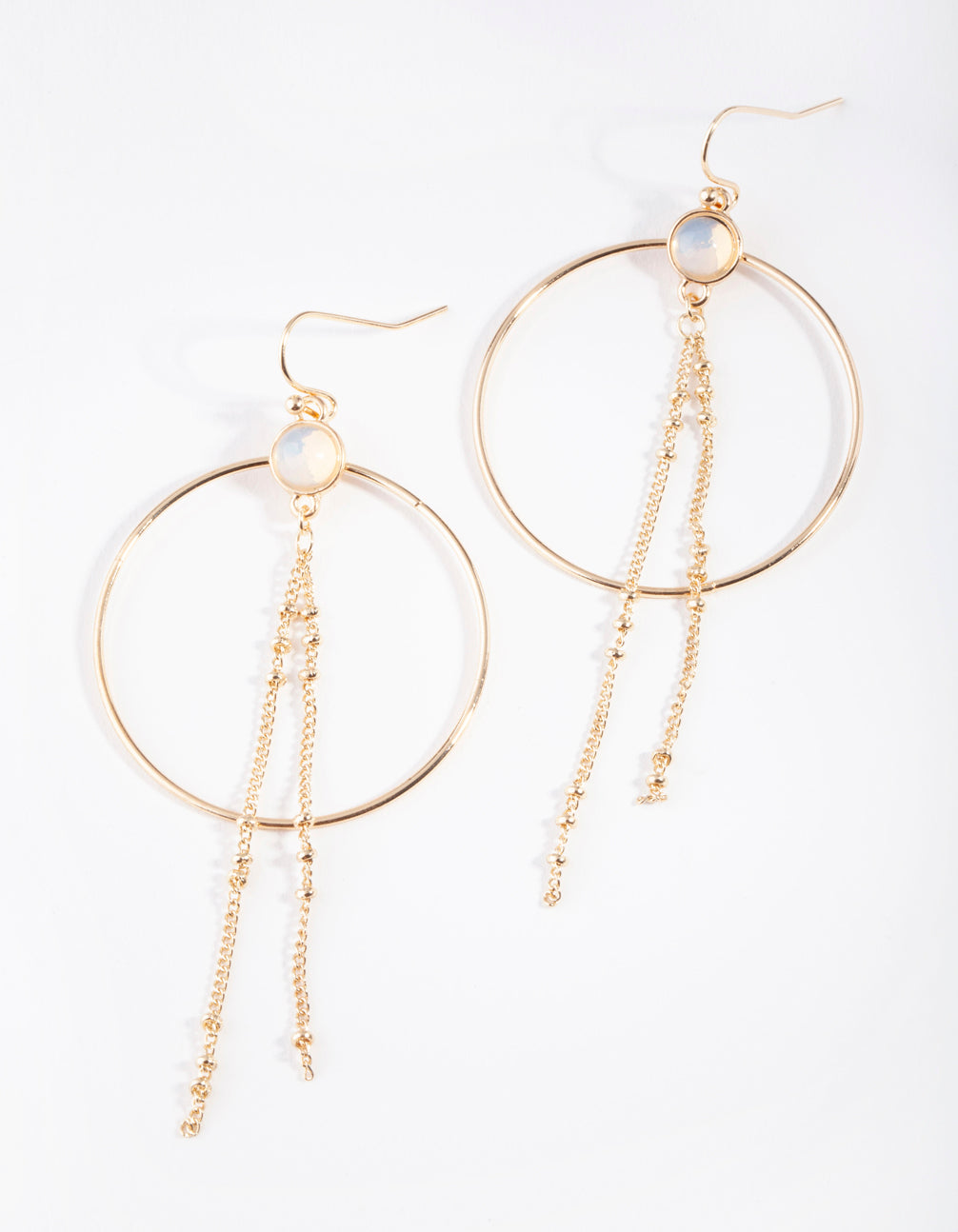 Gold Moonstone Tassel Circle Earring