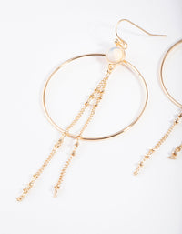 Gold Moonstone Tassel Circle Earring - link has visual effect only