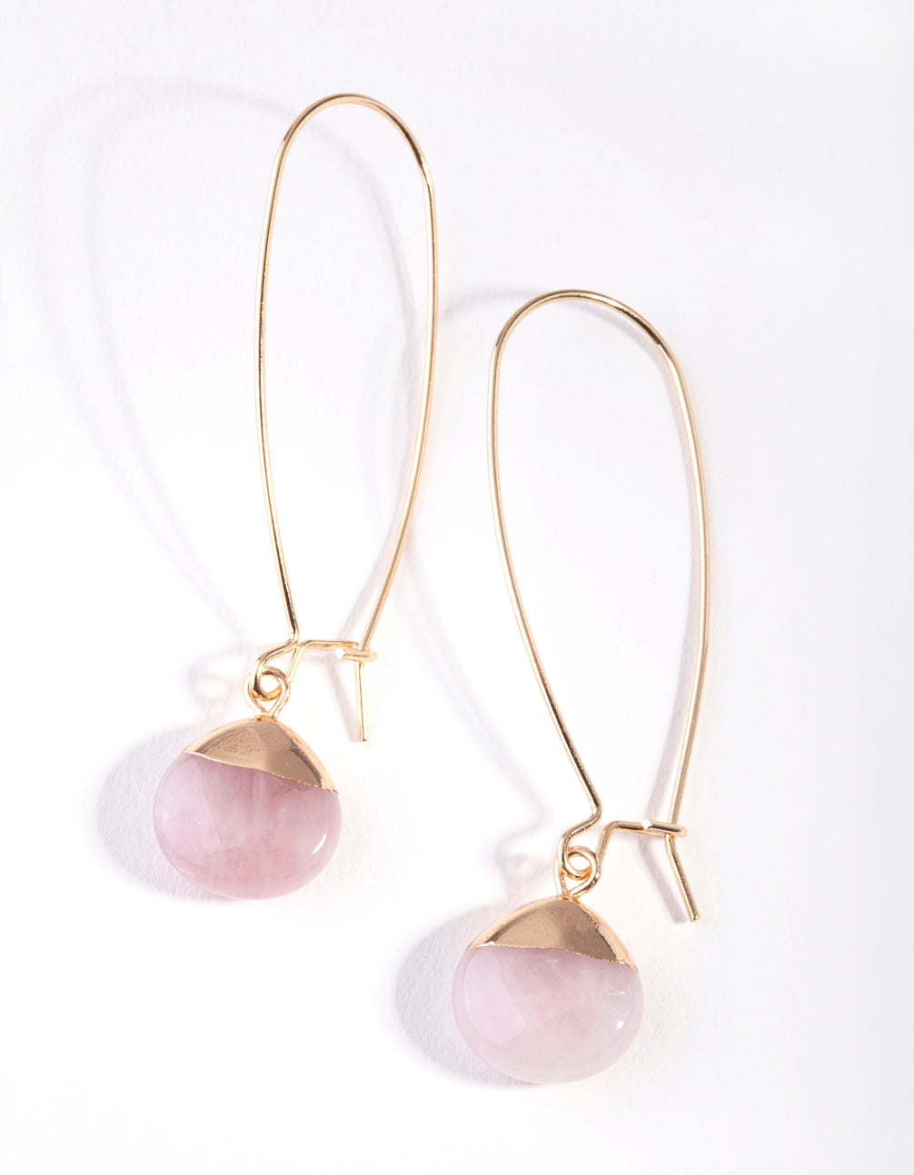 Gold Rose Quartz Capped Stone Earring