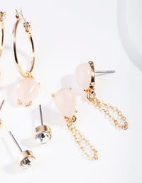 Gold Neutral Rose Quartz Ear Stack - link has visual effect only
