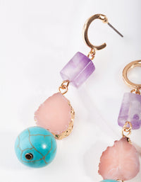 Gold Multi Turquoise, Rose Quartz, Amethyst Earrings - link has visual effect only